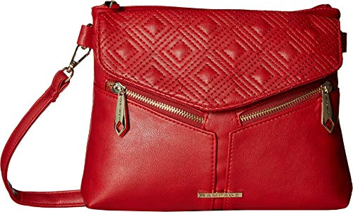Diamond Quilted Handbag - Rampage Womens Diamond Double Quilted Crossbody Red One Size