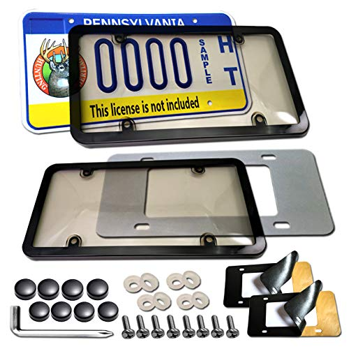 - License Plate Shields Frames Combo - License Plate Covers and Black License Plate Frames, Unbreakable Tinted Clear Smoked Bubble Protector Guard & Stainless Steel Screws,Caps & Foam Anti-rattle Pads