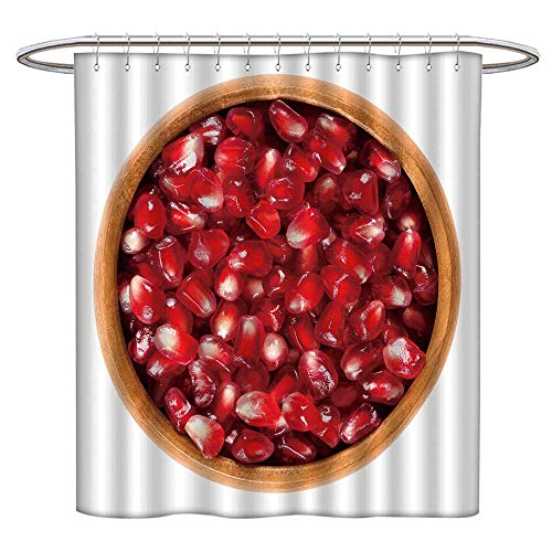 Jiahonghome Shower Curtain pomegr ate Seeds in Wooden Bowl Edible re Seeds Non-Toxic and Eco-Friendly W 72 x L 72 INCH