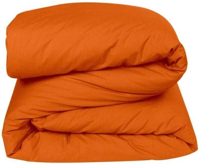 VENT DU SUD Manoir Housse de Couette Unie en Coton Percale Coton Cuivre 200 x 140 cm