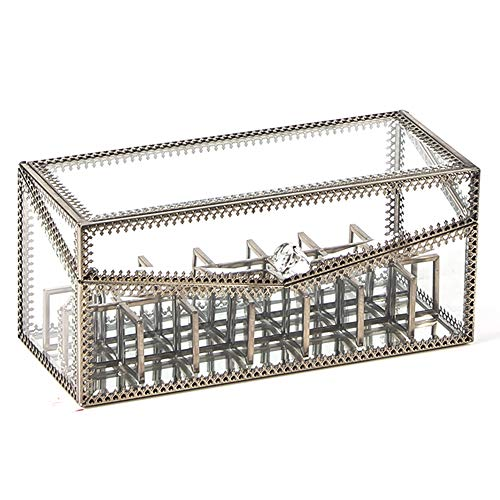 JC MAN Lipstick Holder Glass Makeup Lipstick Organizer Display Case with Removable Dividers 21 spaces