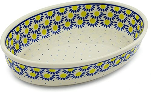 Polish Pottery Oval Baker 11-inch made by Ceramika Artystyczna (Radiant Scales Theme) ()