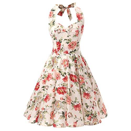 50s Halter Dress (Women's Halterneck Floral 50s Inspired Vintage Rockabilly Swing Pinup Dresses (XXL (US 10-12), Beige Floral))