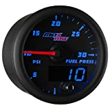 diesel fuel pressure gauge - MaxTow Double Vision 30 PSI Fuel Pressure Gauge Kit - Includes Electronic Sensor - Black Gauge Face - Blue LED Illuminated Dial - Analog & Digital Readouts - for Diesel Trucks - 2-1/16