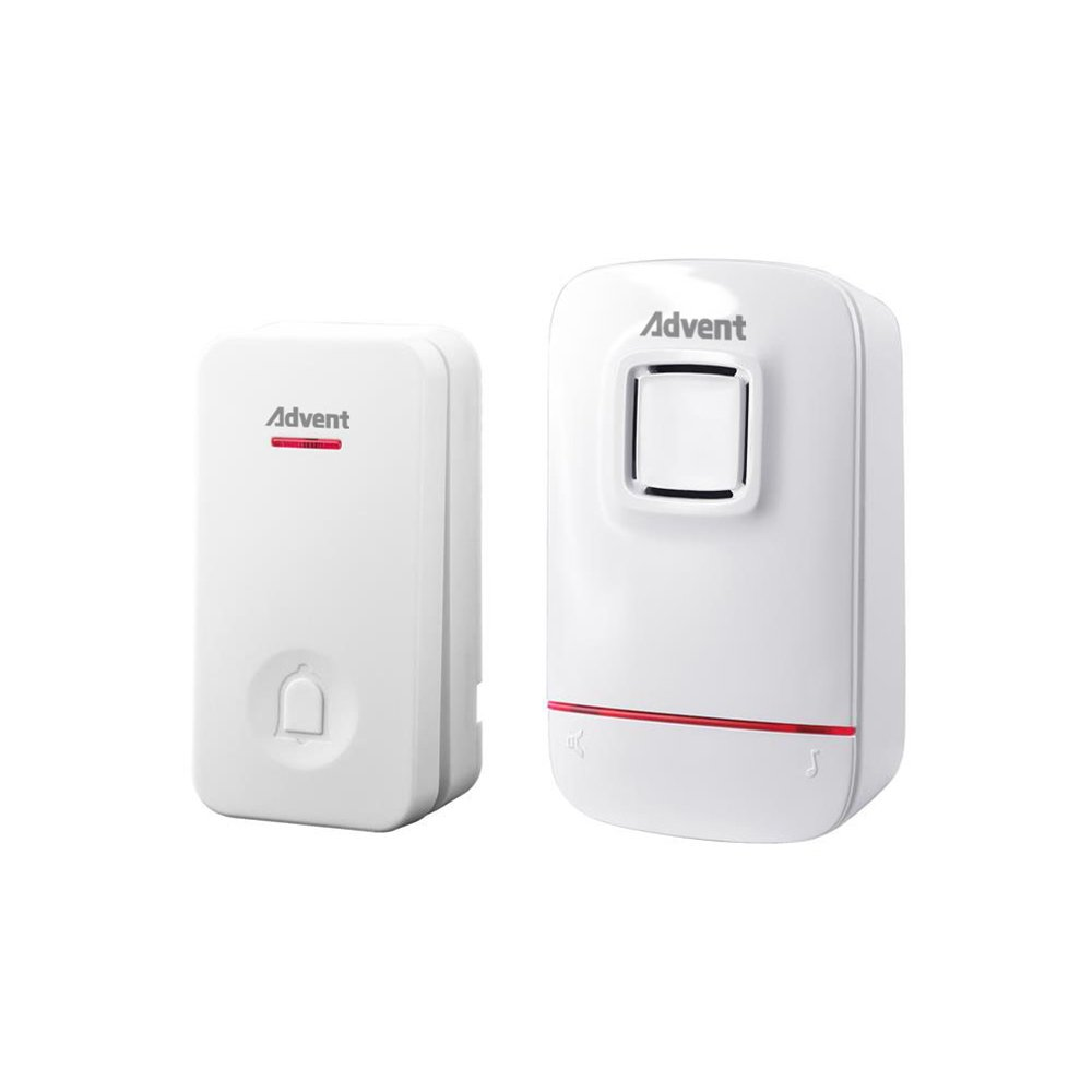 Advent Wireless Doorbell Chimes Self-Powered No Battery Required for Transmitter & Receiver, Plug-In Door Chime Kit with Molded Plastic Cover,White