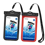 MoKo Waterproof Case for iPhone X iPhone XS iPhone Xr iPhone 8 iPhone 7 iPhone 6S Plus Samsung Galaxy S9 Samsung S8 Plus Samsung S7 Edge Samsung S6 Huawei, Black/Red