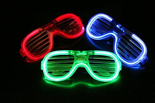 EL Glasses Neon LED light flashing glasses Shutter Shaped Glow Sun Glasses DJ Costume Party(6pcs)