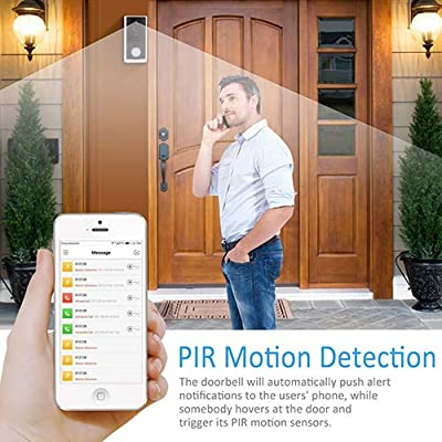 Smart WiFi Doorbell Wire-Free Video Door-Ring Chime PIR Motion Detection Low-Power Rechargeable Battery 720P Home Security Wireless 2-Way Talk Night Vision 8GB SD Card 166° Wide Angle Security Camera