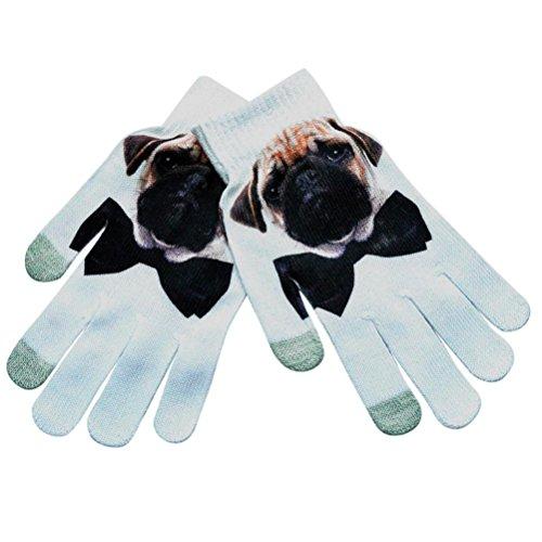 Men Women Winter Warm 3D Print Gloves Knitted Screen Gloves