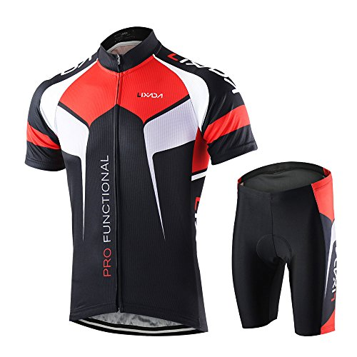 Lixada Men's Cycling Jersey Short Sleeve with Padded Shorts Quick-Dry Summer Short Bike Clothing Bicycle Shirts Pants Set, Black, L(EU)=175-180cm
