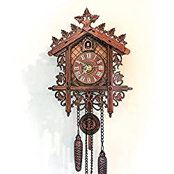 Wall Cuckoo Clocks Forest Wooden Cuckoo Clock Forest Antique Clock Quartz Pendulum Vintage Wall Clock Handcrafted Cuckoo Clock Home Decor