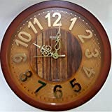 Rikon Quartz Plastic Round Shape Embossed Golden Numbers 31 cm X 31 cm Fancy Premium Home Decor Wall Clock For Home And Office R-97 (Red Wood)