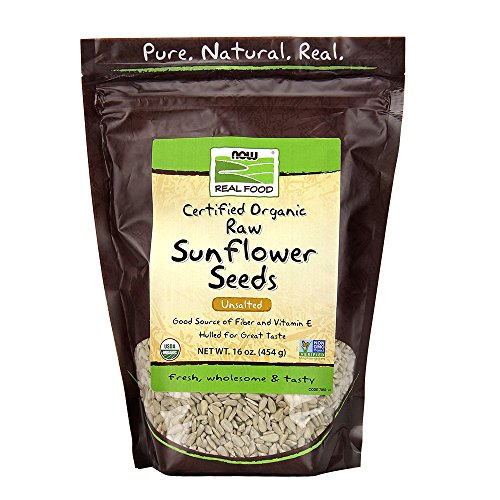NOW Foods, Certified Organic Sunflower Seeds, Raw and Unsalted, Source of Fiber and Vitamin E, Hulled for Great Taste, Certified Non-GMO, 16-Ounce