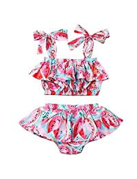 Puloru Newborn Baby Girl Watermelon Outfits Off-Shoulder Backless Crop Top and Ruffle Tutu Shorts Skirt Clothes