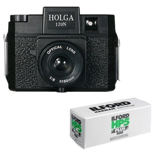 Holga 120N Medium Format Film Camera (Black) with 120 Film Bundle (Film Camera Lomography)