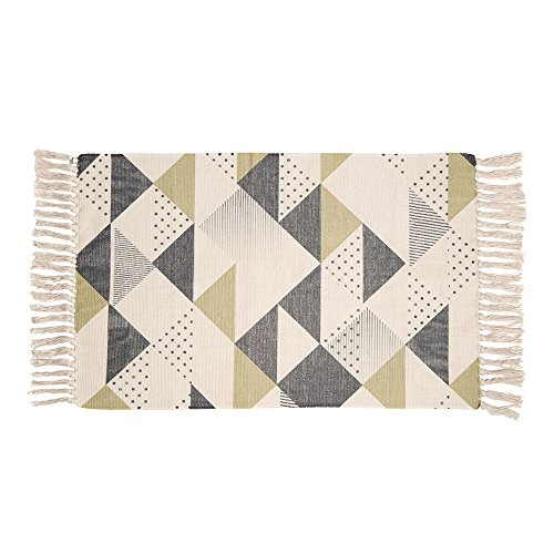 OJIA Cotton Reversible Rag Rug Hand Woven Multi Color Striped Chindi Area Rug Entryway For Laundry Room Kitchen Bathroom Bedroom Dorm (20 x 32 Inch, Geometric)
