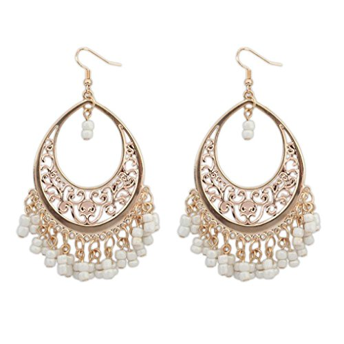 WensLTD 1 Pair Bohemian Europe And The United States Ethnic Style Hollow Beaded Tassel Earrings (Beige-1)