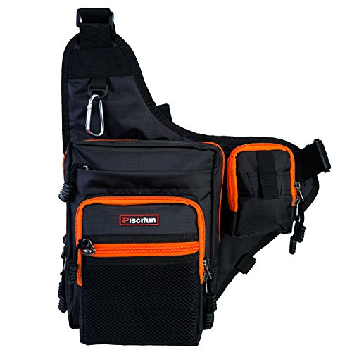 Piscifun Sports Shoulder Bag Fishing Tackle Bag Crossbody Messenger Sling Bags (Black)