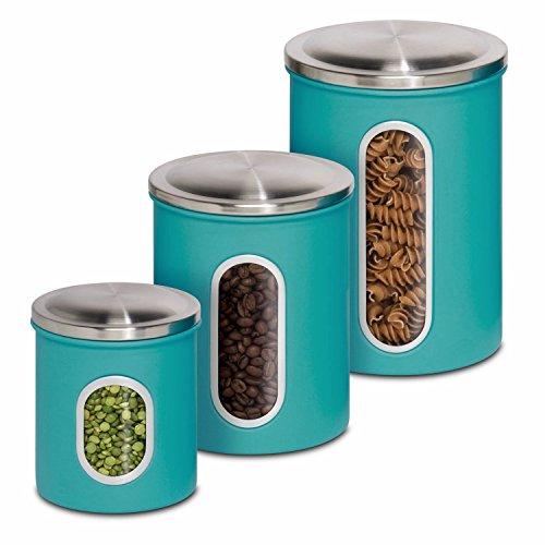 Amazon.com   Honey Can Do KCH 01312 3 Piece Metal Nested Canister Storage  Set, Blue   Flour Bins