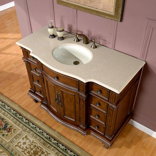 Silkroad Exclusive Hyp-0277-Cm-Uwc-48 Gorgeous Ceramic Marble Top Single Sink Bathroom Vanity with Cabinet, 48