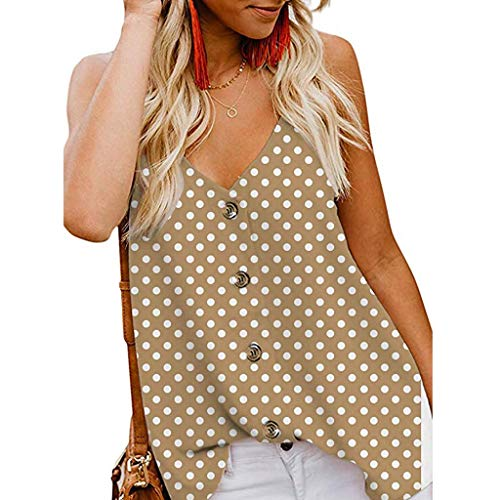 Pongfunsy Women Vest Women's Button Down V Neck Strappy Dot Print Tank Tops Loose Casual Sleeveless Shirts Blouses (M, Khaki)