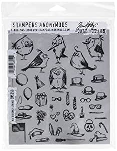 """Stampers Anonymous CMS250 Mini Bird Crazy & Things Tim Holtz Cling Stamps, 7"""" by 8.5"""", Clear"""