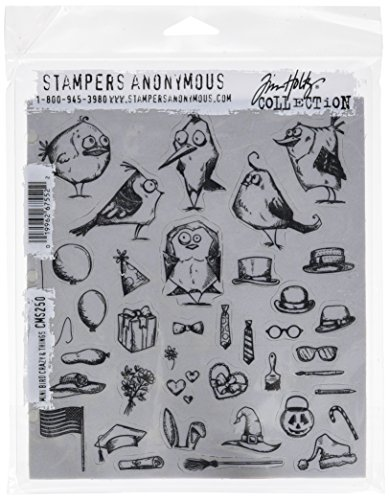 Stampers Anonymous CMS250 Mini Bird Crazy & Things Tim Holtz Cling Stamps, 7