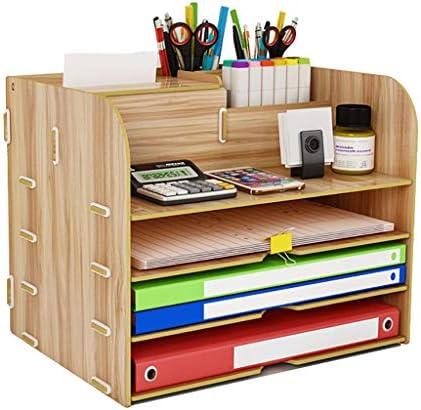 頑丈 ニートペンホルダーファイルボックス、木製多機能、丈夫なテーブルストレージボックス、マガジンは34 * 25 * 25センチメートルスタンドフォルダ事務所ディスプレイラック (Color : A)