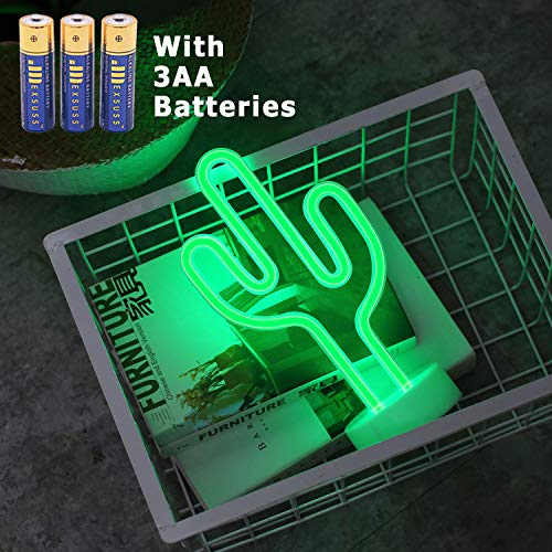 HONGM Cactus Neon Signs LED Neon Light Sign with Holder Base for Party Supplies Girls Room Decoration Accessory for Party Table Decoration Children Kids Gifts by HONGM
