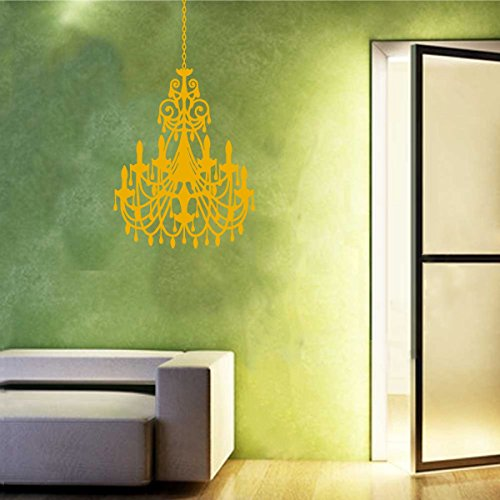 Vinyl Vinatage Antique Ornate Crystal Chandelier Wall Decal Sticker Decorative Candelabra Design (Signal Yellow, 48x31 - Yellow Antique Cross