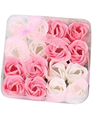 Iuhan 16Pcs Heart Scented Bath Body Petal Rose Flower Soap Wedding Decoration Gift Best (Pink)