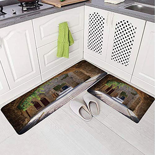2 Piece Non-Slip Kitchen Mat Rug Set Doormat 3D Print,in a Small Provincial Town of Tuscan Italy European,Bedroom Living Room Coffee Table Household Skin Care Carpet Window Mat, ()