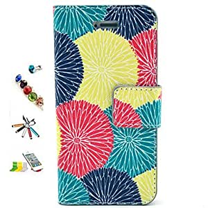LCJ Orange Flower Pattern PU Material with Stylus Anti-Dust Plug and Stand Portfolio for iPhone 4/4S