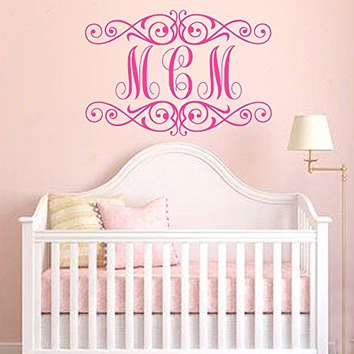 Monogram Wall Decal - Personalized Initials - College Dorm Room - Monogrammed Vinyl Wall Decal Monogram Letters(white,16&quottall). ()