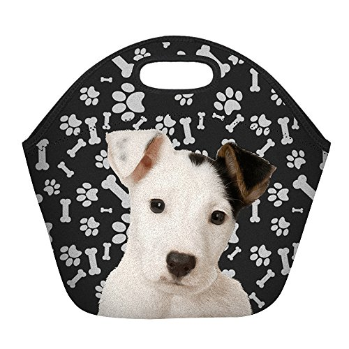 Jack Russell Terrier Dog Paws Print Insulated Lunch Bag for Women Men or Kids, Hot/Cooler Multi-purpose Work/Picnic Tote ()