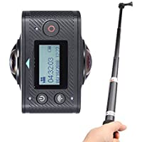 Andoer Dual-lens 360 Degree Panoramic Digital Video Sports Action VR Camera 1920 960P 30fps HD 8MP with 220 Degree Fish Eyes Lens with Handheld Extendable Telescopic Monopod Selfie Stick