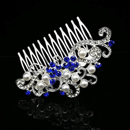 Blue Flower Wedding Hair Comb Crystal Rhinestone Simulated Pearl Bridal Headpiece Hair Accessories for Women, Silver ()