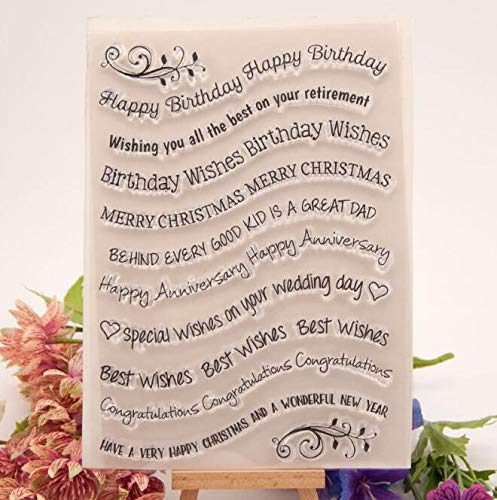 (Welcome to Joyful Home 1pc Happy Birthday Sentiment Rubber Clear Stamp for Card Making Decoration and Scrapbooking)