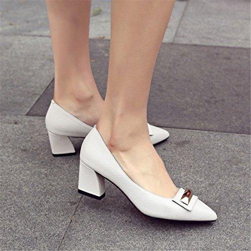 Europeos Zapatos Retro Duro Bruto Creamy Señaló En Señora De Recto Calzado dede Sandalette Americanos Y Zapatos Mujer white wqRIz1W