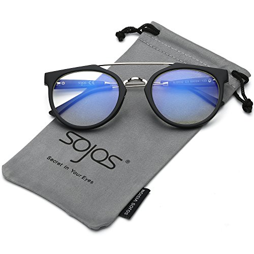 SojoS Modern Double Metal Bridge Crossbar Round Unisex Sunglasses SJ2032 With Matte Black Frame/Clear - Frames Own Sunglasses Your Design