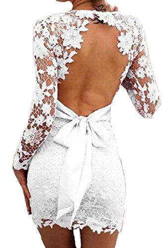 Abito Crochet Collo Lunga Womens Jaycargogo Pizzo Bodycon Bianco Scollato Sexy V Manica pw56q8Fx