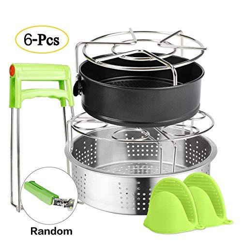 - 6 PACKS Accessories Steamer Basket Steamer Sets Steamer Base Springform Pan Egg Steamer Rack Silicone Oven Mitts Plate Dish Clip for Pressure Cooker Cooking Pot Steamer Pot Pan 4 5 6 8 qt