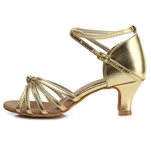 HROYL Women's Standard Latin/Modern/Samba/Chacha Dance Shoes Satin Ballroom S7-217 5CM Gold