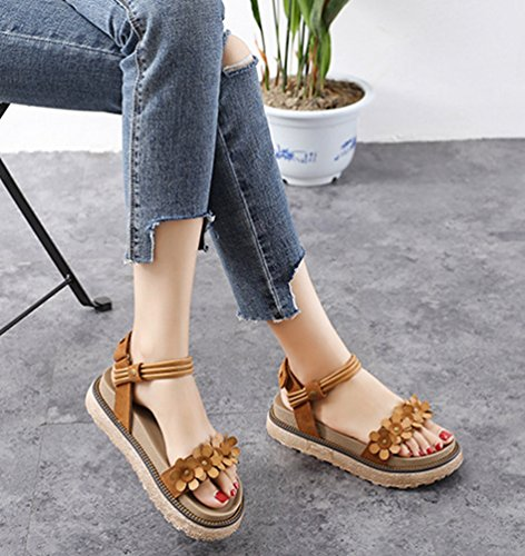 LINNUO Womens Sandals Wedge Heel Ankle Strap Flower Platform Slingback Flatfrom Summer Thick Sole Roman Shoes Brown OSVEos1eEi