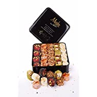 Luxury Turkish Delight Assorted NEW Varieties - 34 Oz. Double Layer -Chocolate Puffed Rice w.Pistachio, Orange w.Hazelnut, Honey Almond, Sultan Pistachios Valentines Day Gift Box - Mughe Gourmet
