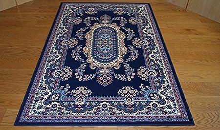 WEBTAPPETI Tappeti Classici economici Modello Persiano Colore Blu - Tris  scendiletto parure 3 Pezzi 1 pz. cm.70x130 + 2pz. cm.55x105