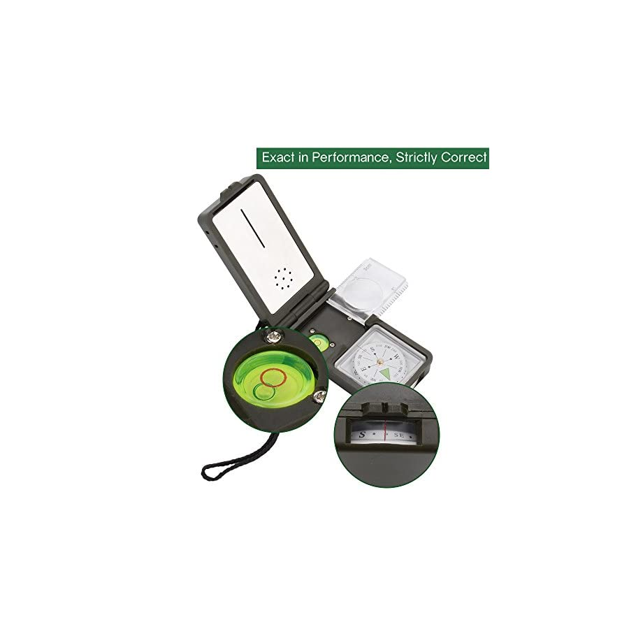 Compass Tsumbay 10 in 1 Multifunction Pocket Compass with Thermometer Hygrometer LED Lighting Reflector Magnifier Spirit Level Function for Hiking, Camping, Motoring, Boating, Backpacking Army Green