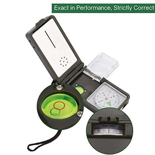Tsumbay Multi functional Pocket Compass With Thermometer Hygrometer LED Lighting Reflector Magnifier Spirit Level Function for Outdoor Activities Hiking Camping Climbing Biking