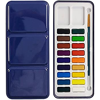 Max Watercolor Set | 18 Half Pan Assorted Solid Cake Colors Deluxe Water Paint Kit with Bonus Brush | Portable Field Sketch Metal Box with Built-In Blend and Mix Palette for Kid and Adult | 987