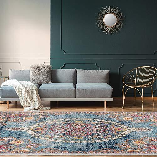 "Ottomanson Area Rug, 5'3"" x 7', Turquoise"